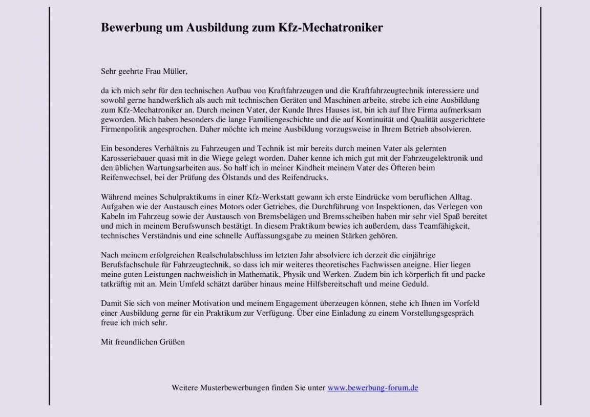 Bewerbungsschreiben Kfz Mechaniker Vorlage In 2020 Anschreiben Bewerbung Ausbildung Bewerbung Schreiben Lebenslauf