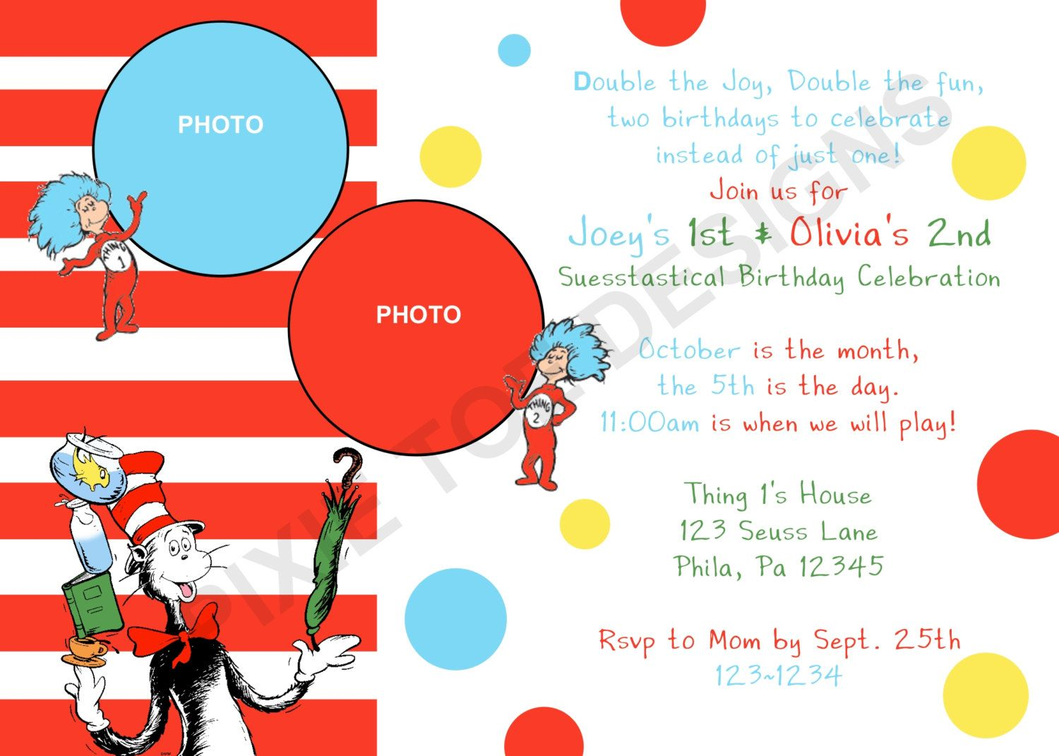thing 1 thing 2 invite | Events | Pinterest | Birthdays, Twin ...