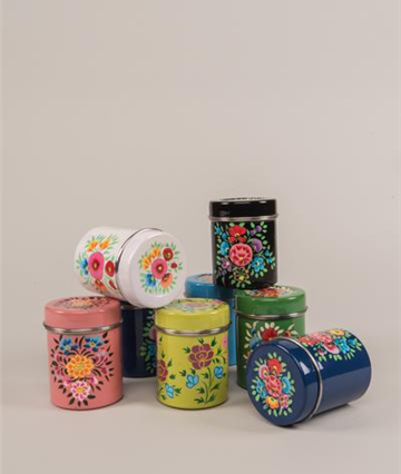 Hand Painted Kashmiri Spice Canister Assorted Hand Painted