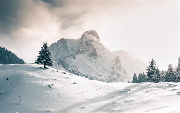 Scarica Sfondi Inverno Paesaggio Montagne Coperte Di Neve