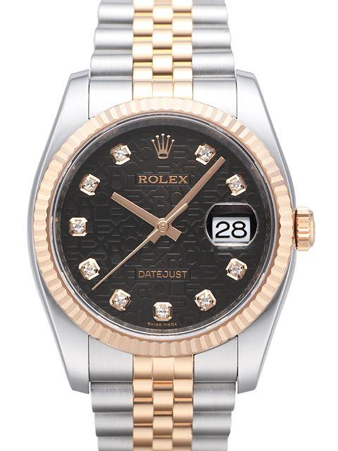 Rolex Datejust 36 116231 Schwarz Diamant Jubile Band Rolex Uhren