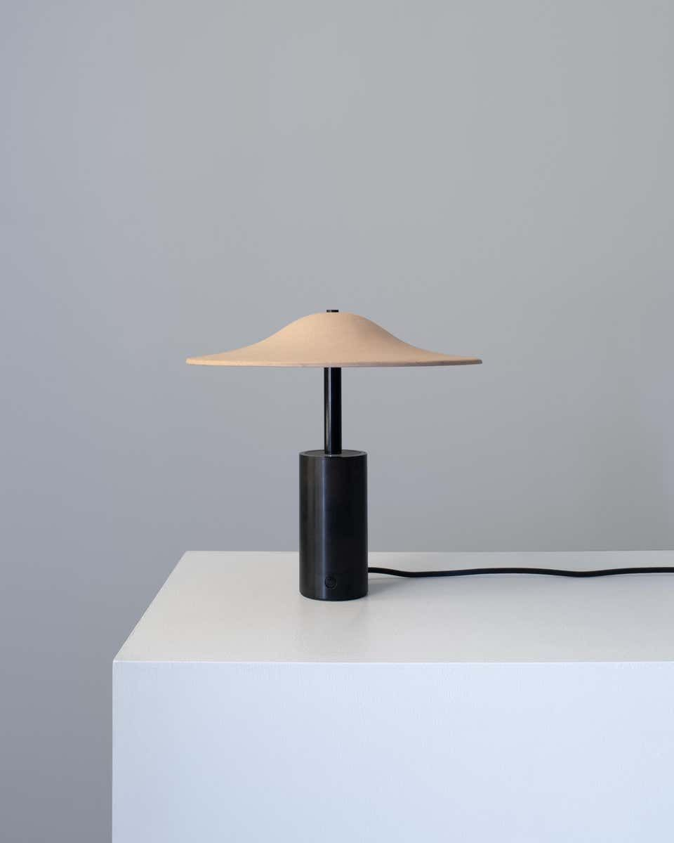 Alien Table Lamp In Blackened Steel And Hand Pinched Tan Or Terracotta Shade In 2020 Lamp Table Lamp Bubble Table Lamp