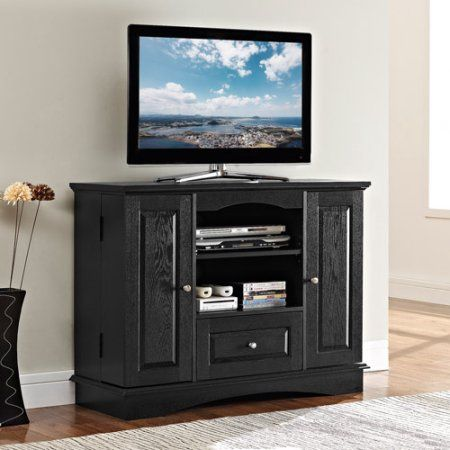 42 Inch Black Wood Highboy Tv Stand For Tvs Up To 48 Inch Muliple