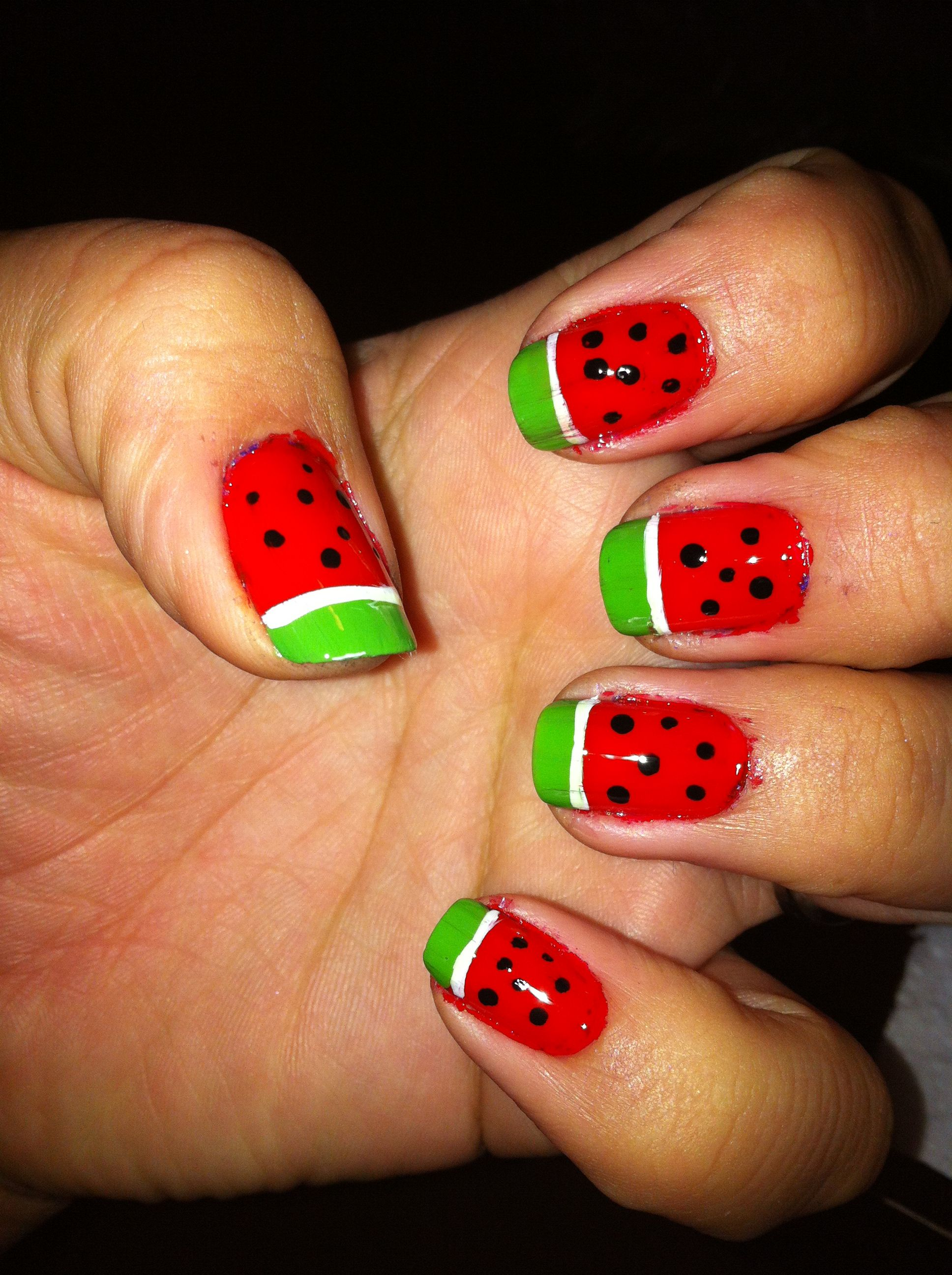 Watermelons anyone? Quick and easy nail design   Nails   Pinterest ...