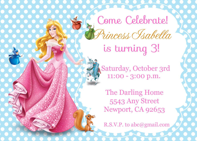 Princess Aurora, Sleeping Beauty Invitation Kid\'s Birthday Party ...