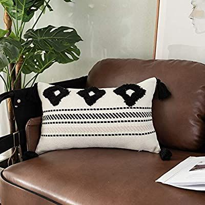 Collive Morocco Tufted Boho Pillow Covers 12X20 Inch Tribal Textured Woven Diamond Decorative Throw Pillow Cover with Tassels Modern Home Decor Accent Pillow Case Black Off Beige