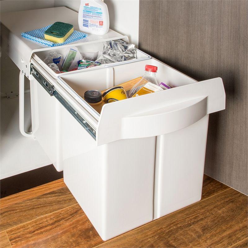 Bunnings Kitchens Design: REstored 20L White Dual Slideout Bin