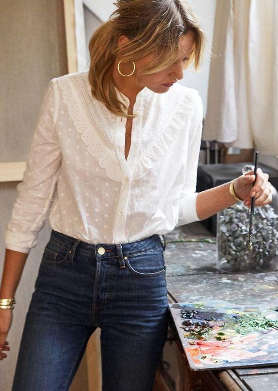 La chemise blanche en popeline de coton