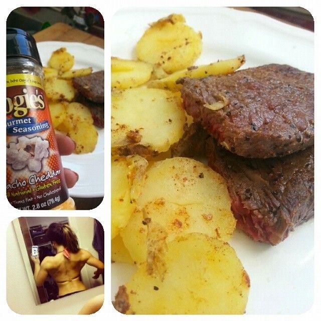 ryggbiff och potatis, ronja kan! var inte äns svårt!  #ingenkanel#ryggbygge#köttbyggerkött#eatcleantrainmean#oogies#götta #foodporn#muskelmat