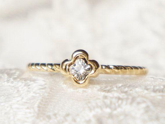 afbd86bce0c48d Gold four leaf clover swarovski ring- faceted gemestone- Choose your ...