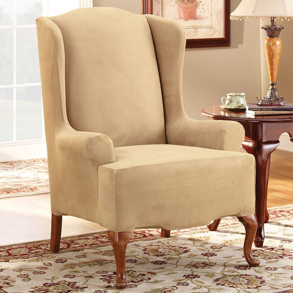 Best Sure Fit Stretch Suede Wing Chair Slipcover Slipcovers 400 x 300