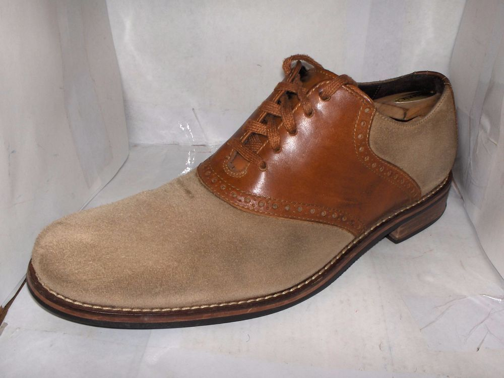 Cole haan mens beige suede saddle brown leather oxfords size