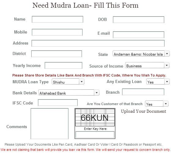 Pradhan Mantri MUDRA Loan Yojana Application Form 2017 real - lending contract template