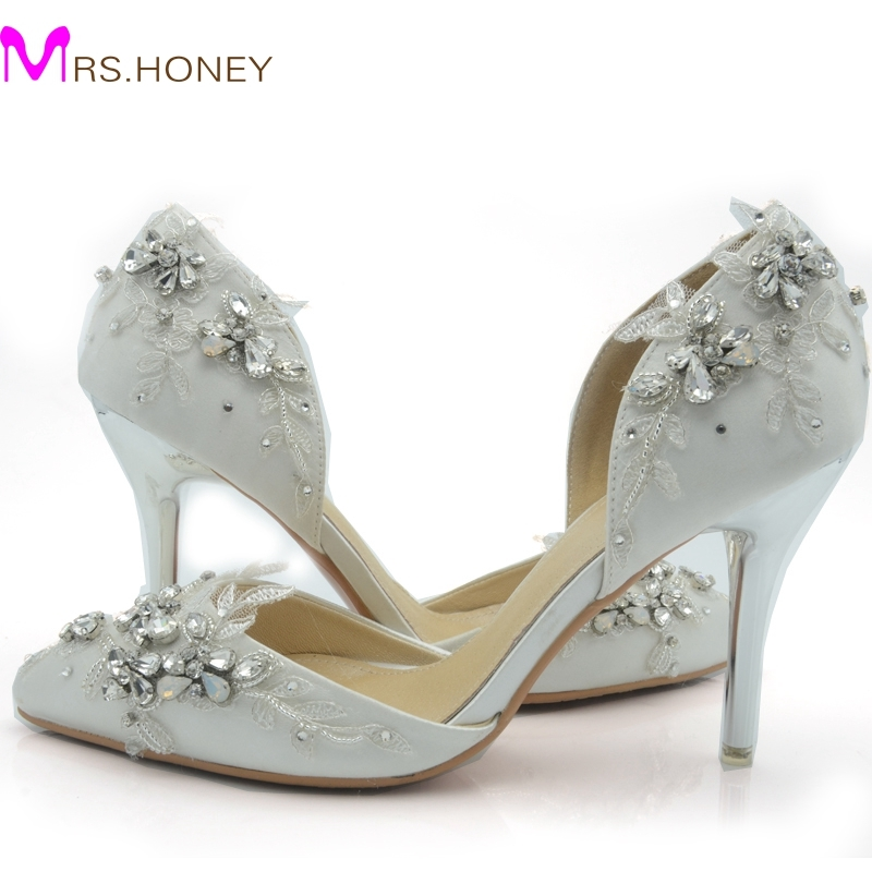 (101.67$)  Buy here - http://ai202.worlditems.win/all/product.php?id=32547423098 - 2016 Handcraft White Satin Bride Shoes Comfortable Wedding Party High Heel Shoes High Quality Rhinestone Pageant Event Shoes