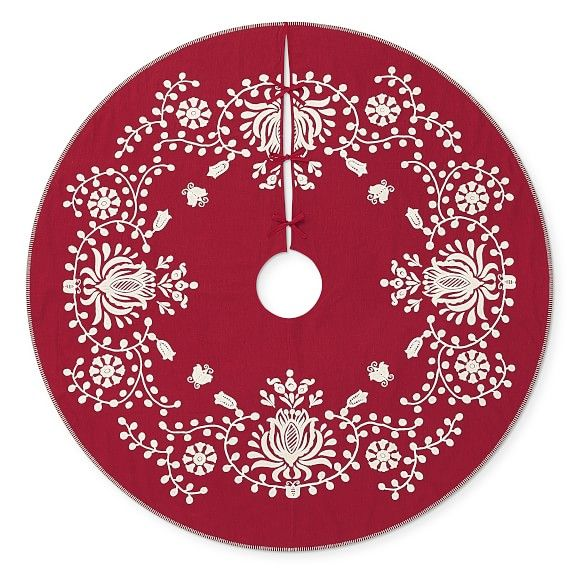 Aerin Holiday Embroidered Linen Tree Skirt, Red