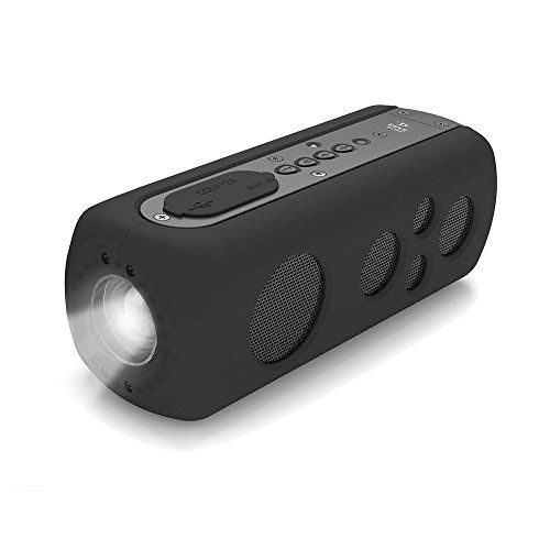 Special Offers Pyle Bluetooth Waterproof Speaker With Flashlight And Hand Crank Charger Portable Camping