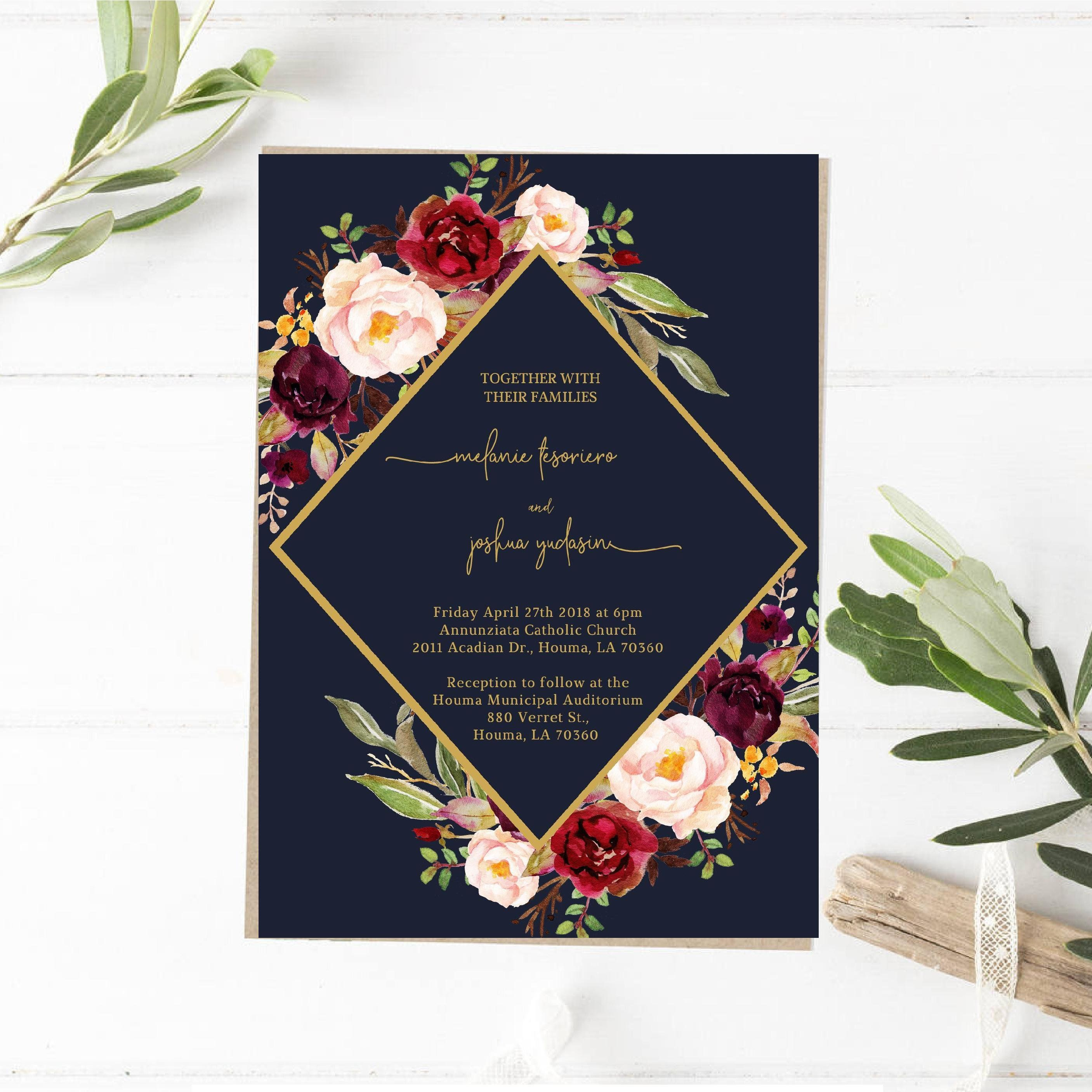 Rustic Floral Wedding Invitation Suite Set, Navy, Gold