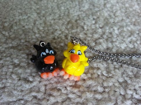 NMJ's Chocobo sculpts are now mini sized and available on a necklace! Each Chocobo is hand sculpted and hand painted and made to order. Available in ANY COLOR YOU'D LIKE. Please let me know in the notes if you'd like a color other than yellow or black.