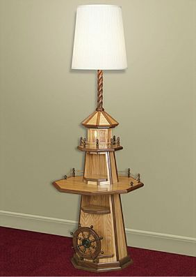 Elegant Oak Lighthouse Floor Lamp