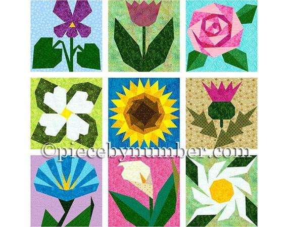 9 Flower Quilt Patterns paper piecing quilt by PieceByNumberQuilts ... : pieced quilt patterns - Adamdwight.com