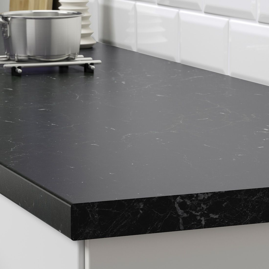 SÄljan Countertop Black Marble Effect Laminate 98x1 1 2