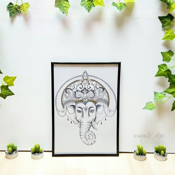 Ganesha / Ganesh Dotwork Drawing with Gold Detail A4 Size What youll receive: A high-quality print of art designed and drawn by me using a pigment liner . The print will be signed at the back. All prints with gold details have been individually hand painted with high-quality gold ink on the print. Note: Frame not included but prints can also be purchased with the frame. Feel free to ask any questions