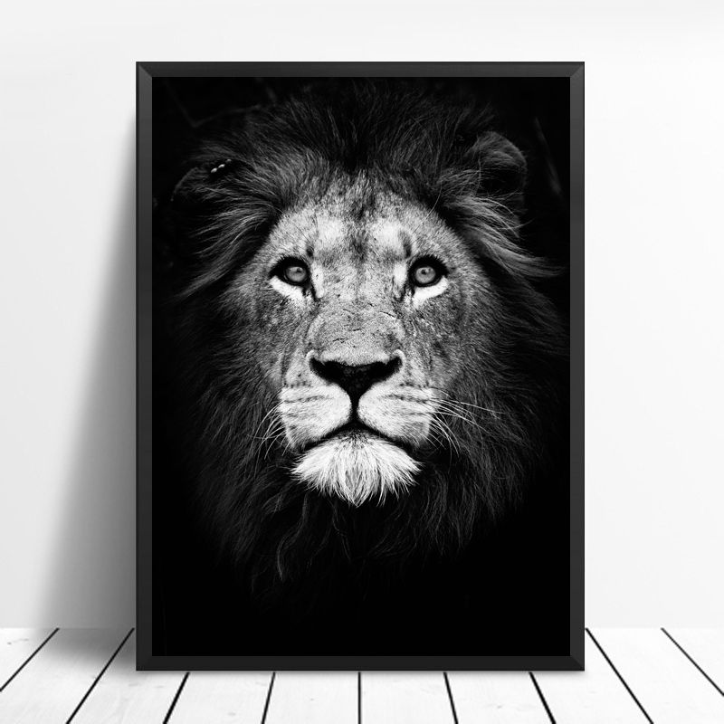 Wild Animal Canvas Painting Black And White Wall Art Picture Artwork Poster Home Decor Wish Animal Wall Art Wall Art Canvas Painting Animal Canvas