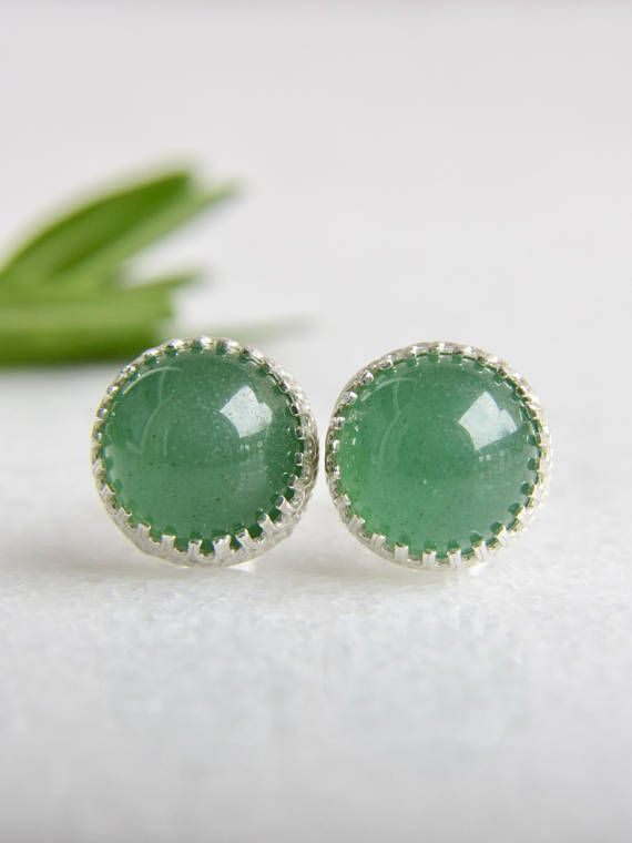 c36cdb8d5 genuine green aventurine 8mm smooth round stud earrings with 925 sterling  silver bezel and post