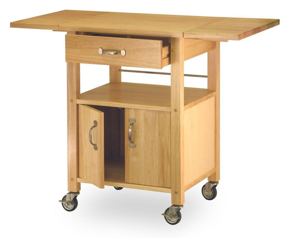 Kitchen Island Cart Storage Cabinet Expandable Drop Leaf