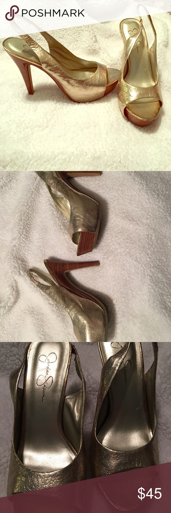 Jessica Simpson shoes Size 10 gold in great shape Jessica Simpson Shoes Heels