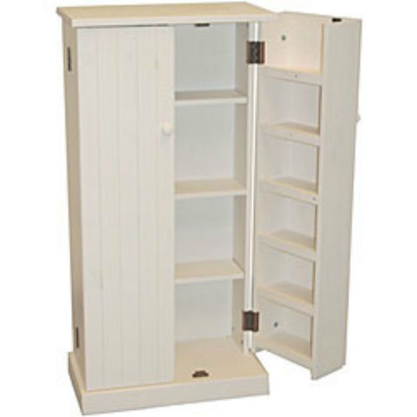 Marvelous Kitchen Pantry Cabinet Free Standing White Wood Utility Storage Cupboard  Foodu2026