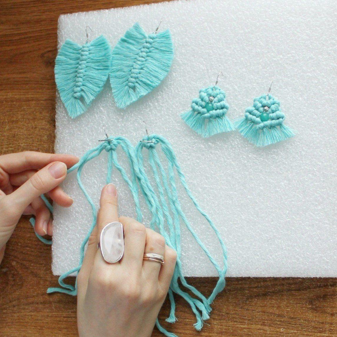 DIY macrame earrings pattern. In process. Macrame leaf. Macrame jewelry