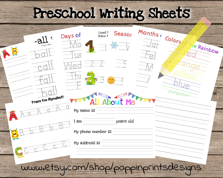 Preschool Writing Worksheets Name Tracing Worksheets Etsy Name Tracing Worksheets Name Writing Practice Writing Worksheets [ 2400 x 3000 Pixel ]
