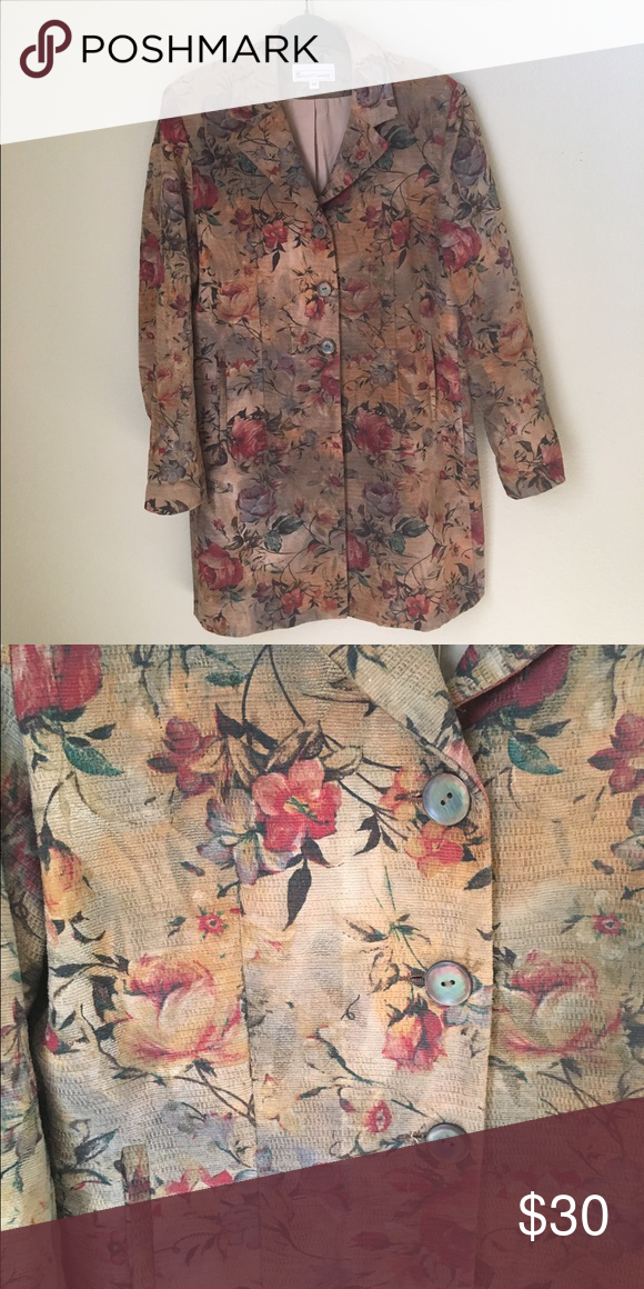 "Elliott Lauren Flower Print Jacket Lightweight Cotton Blend 34 1/2"" Long Jackets & Coats"