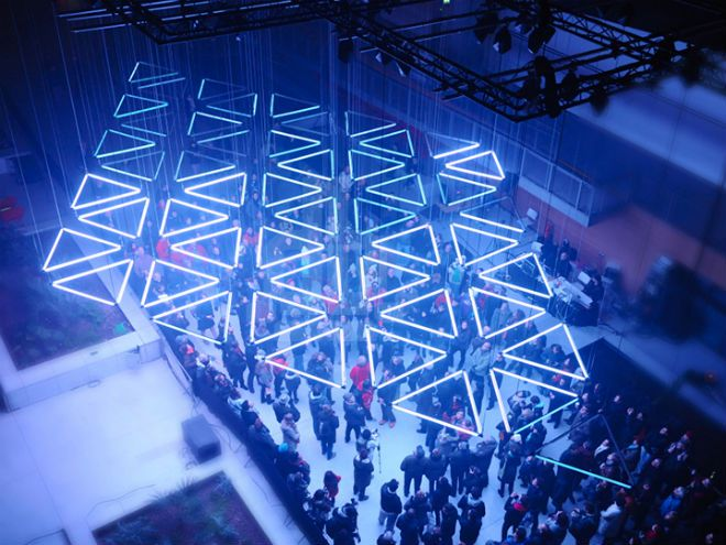 Watch an Epic Light Installation That Dangles From the Ceiling ...