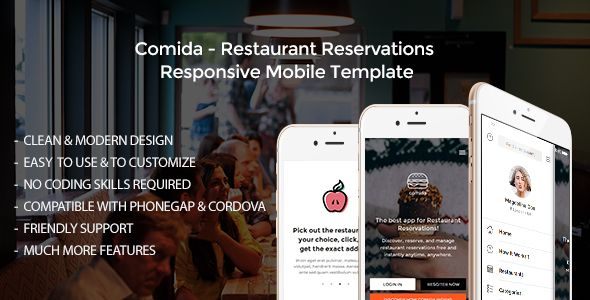 Comida - Restaurant Reservations Responsive Mobile Template ...