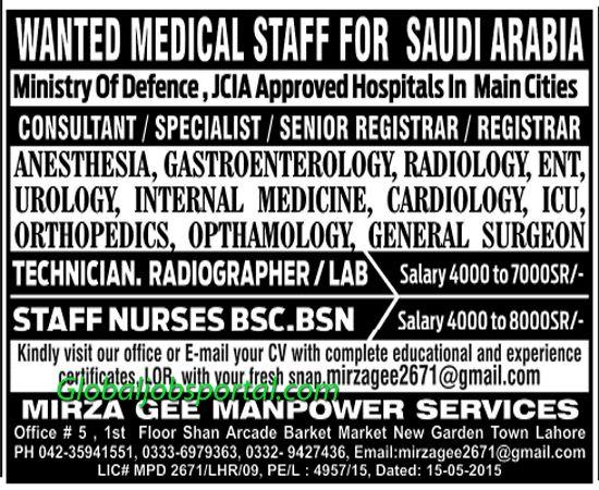 Consultant Specialist Registrar Jobs In Saudi Arabia Job