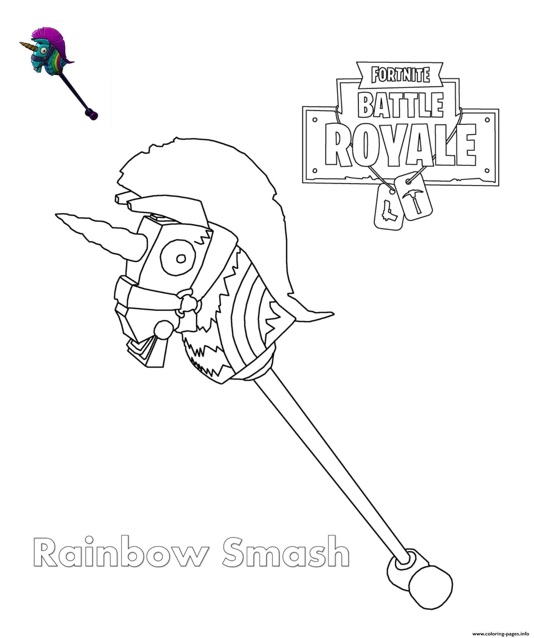 Print Rainbow Smash Fortnite Coloring Pages Jons 10th Birthday