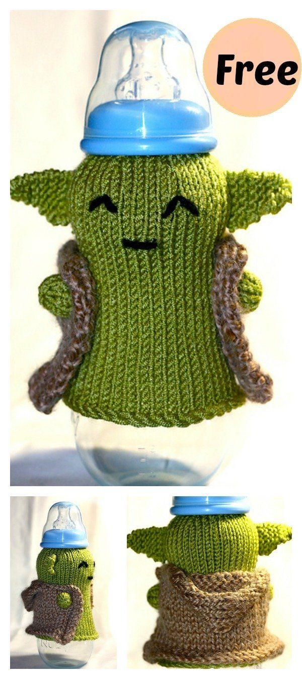 Photo of FREE Yoda Baby Bottle Cozy Knitting Pattern