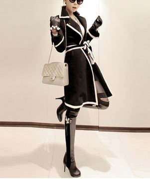 black trench with white trim. Love it!