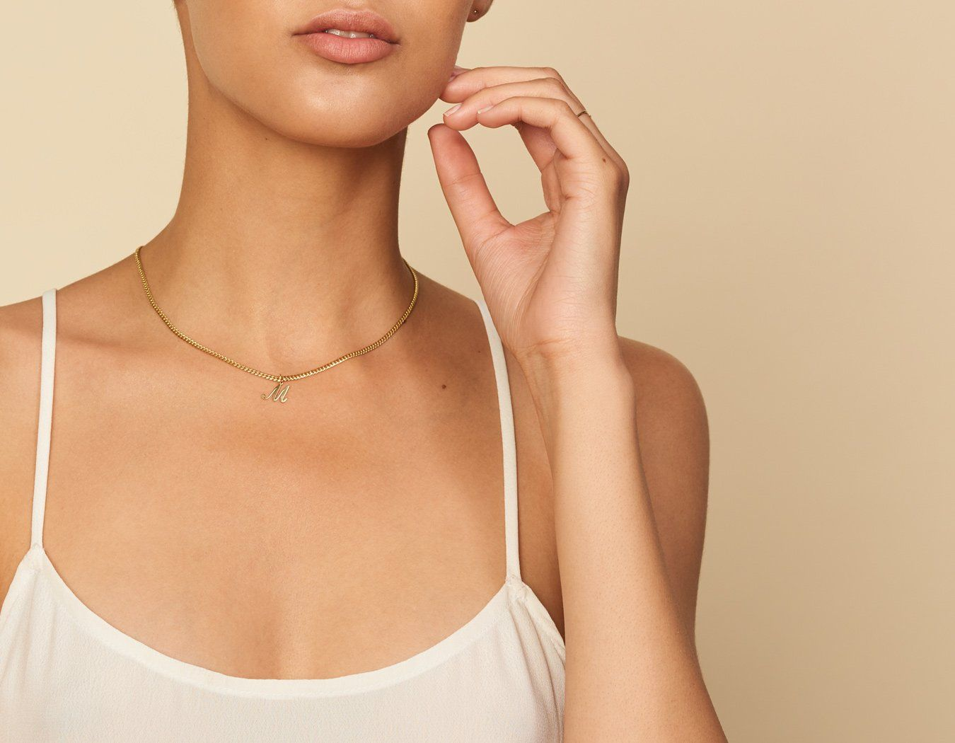 7a455bc45cfd ... design in solid gold. M Letter Pendant on Oval link chain necklace by  Vrai and Oro