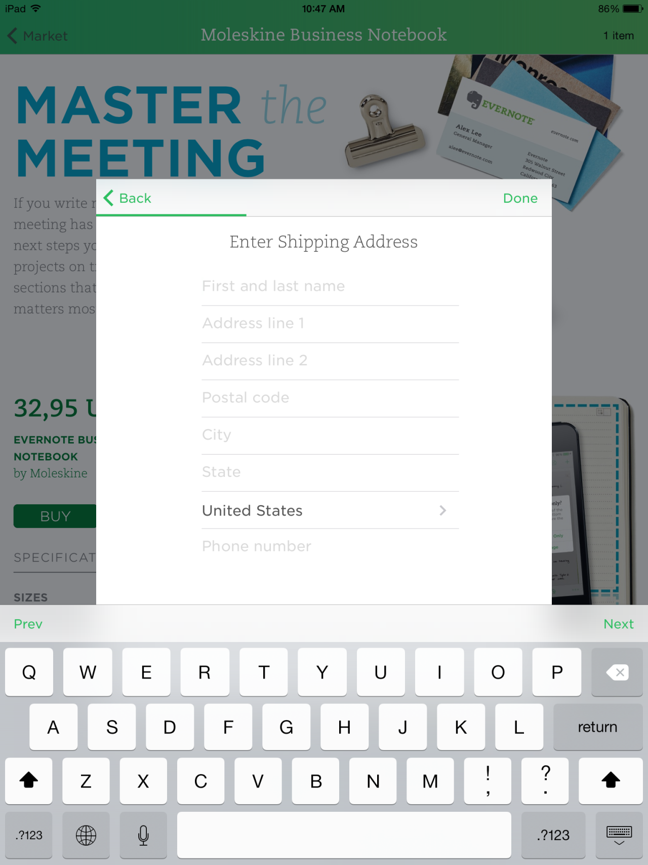 Evernote Shipping form Mobile design patterns, Mobile