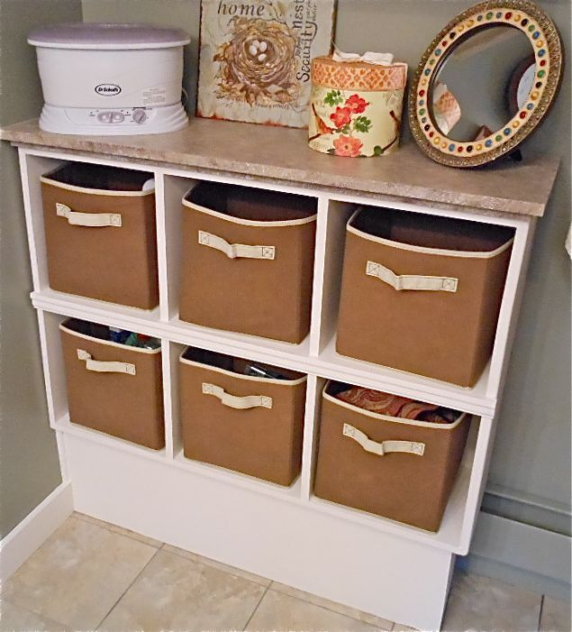 Bathroom Storage This Is Two Cubby Style Shelves Turned