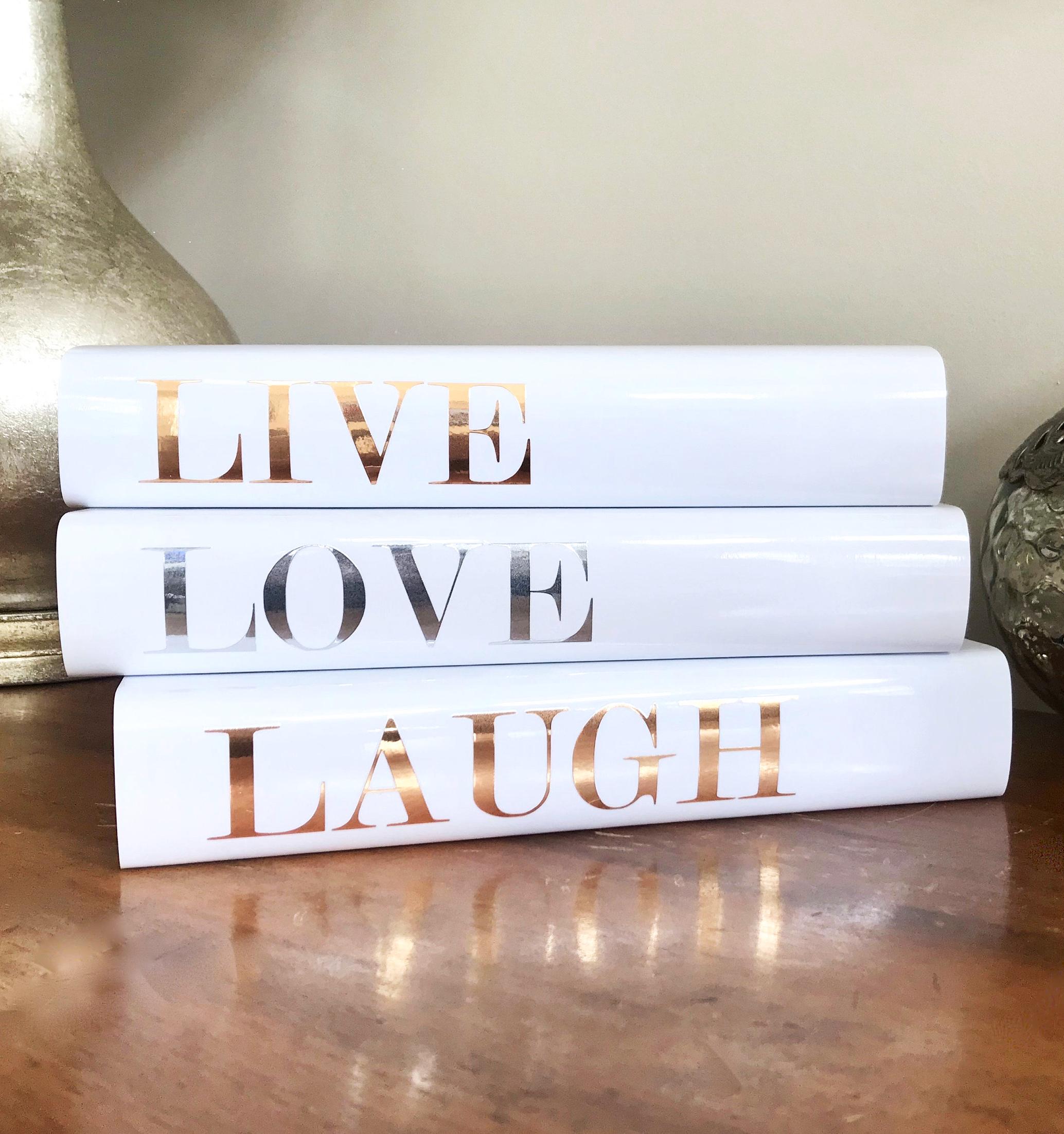 Live Love Laugh Gold Silver Metallic Decorative Book Set Live Laugh Love Shiny Chrome Coffee Table Books Fashion Books Book Lover Gift Book Decor Coffee Table Books Decor Fashion Books [ 2205 x 2068 Pixel ]