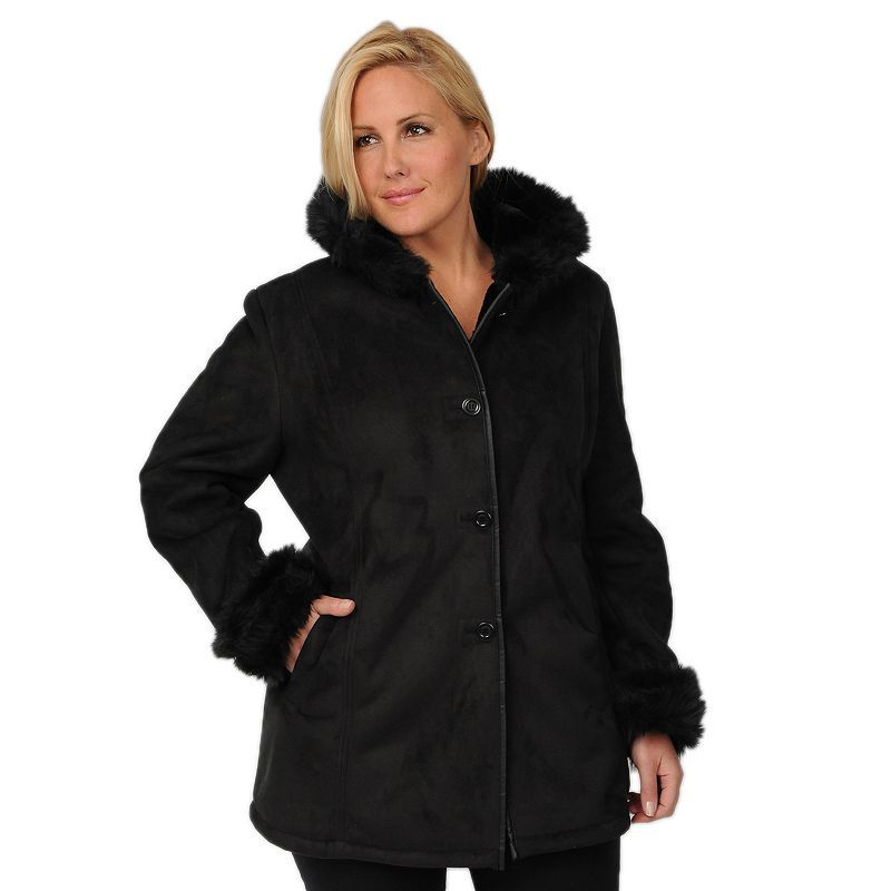Excelled Plus Size Excelled Hooded Faux-Suede Coat
