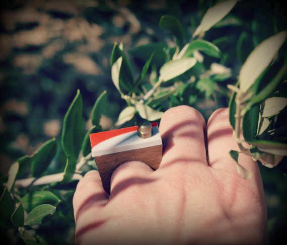 Geometric ring  wood and plexiglass ring by meetthecat on Etsy, €17.00
