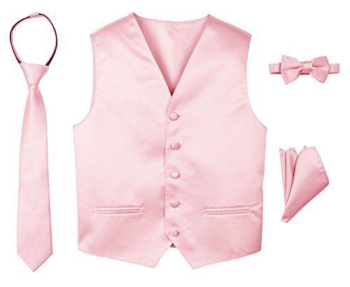 Tie /& Bow-Tie Set Boy/'s Pink Satin Tuxedo Vest Sizes:2-14 Italian Design