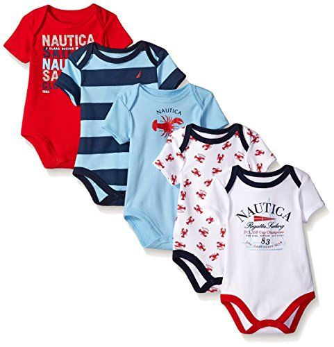 272365f70 Nautica Baby Boys  Newborn Five-Pack Bodysuits