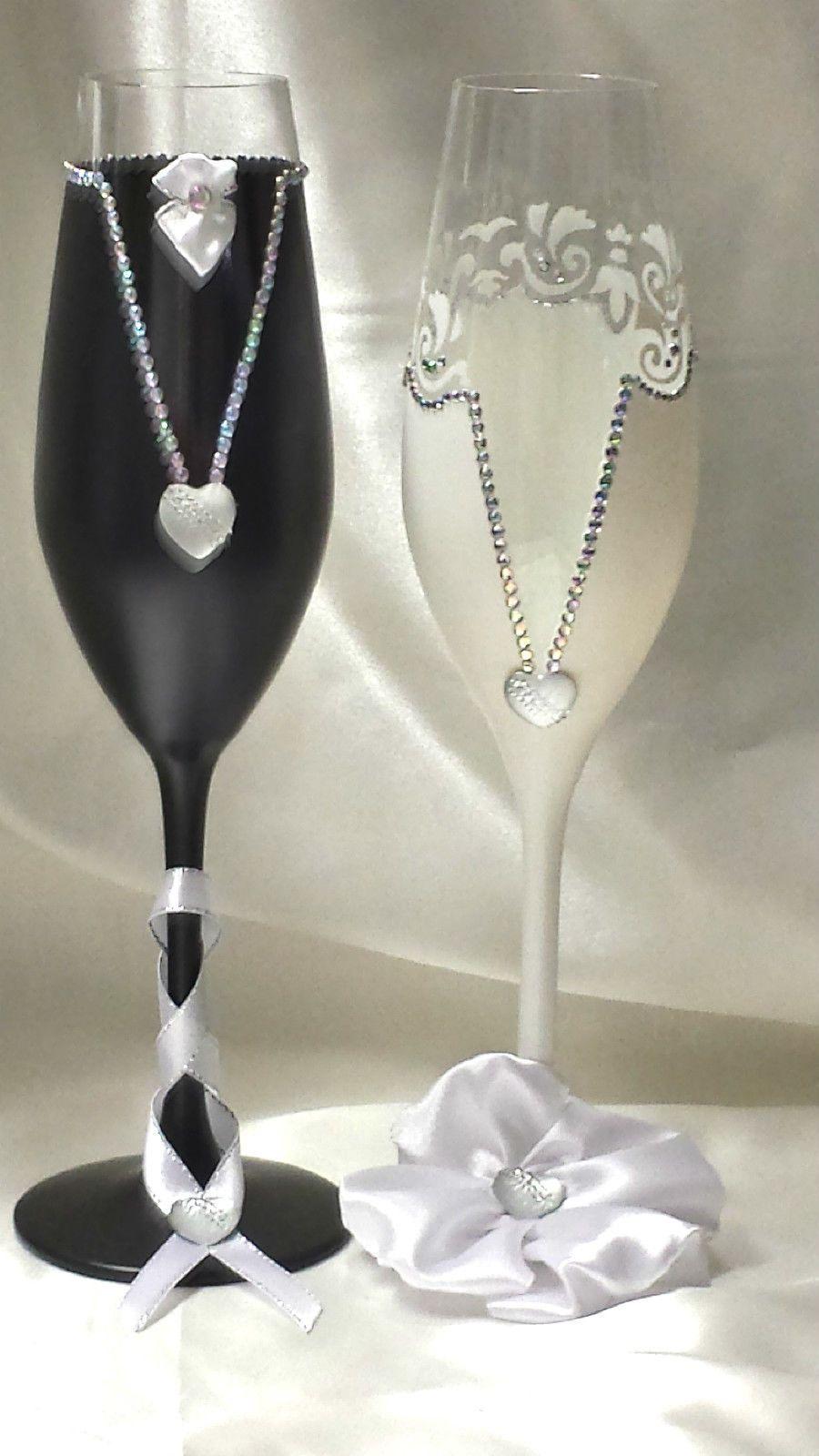 Hochzeitsglaser Sektglaser Hochzeitsgeschenk Handarbeitnr 43 Ebay