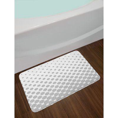 East Urban Home Gray White Geometric Circle Bath Rug Circle Bath Rug Memory Foam Bath Rugs Vintage Bath